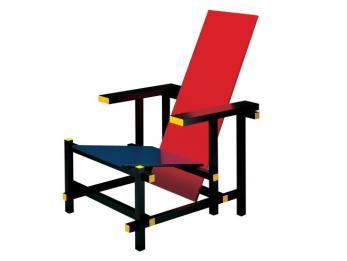 Chaise en rouge et bleu de Gerrit Rietveld