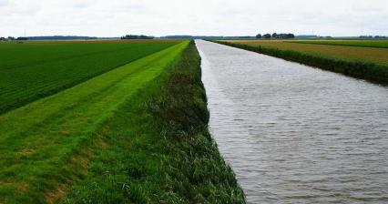 Prés et canal aux Pays-Bas